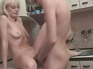 Russian Blond Mom Son's friend at..