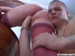 Chubby russian mature and her younger..